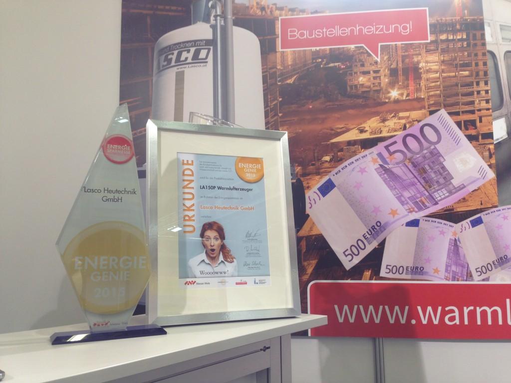 Auszeichnung für Pelletwarmluftheizung mit dem Energiegenie 2015